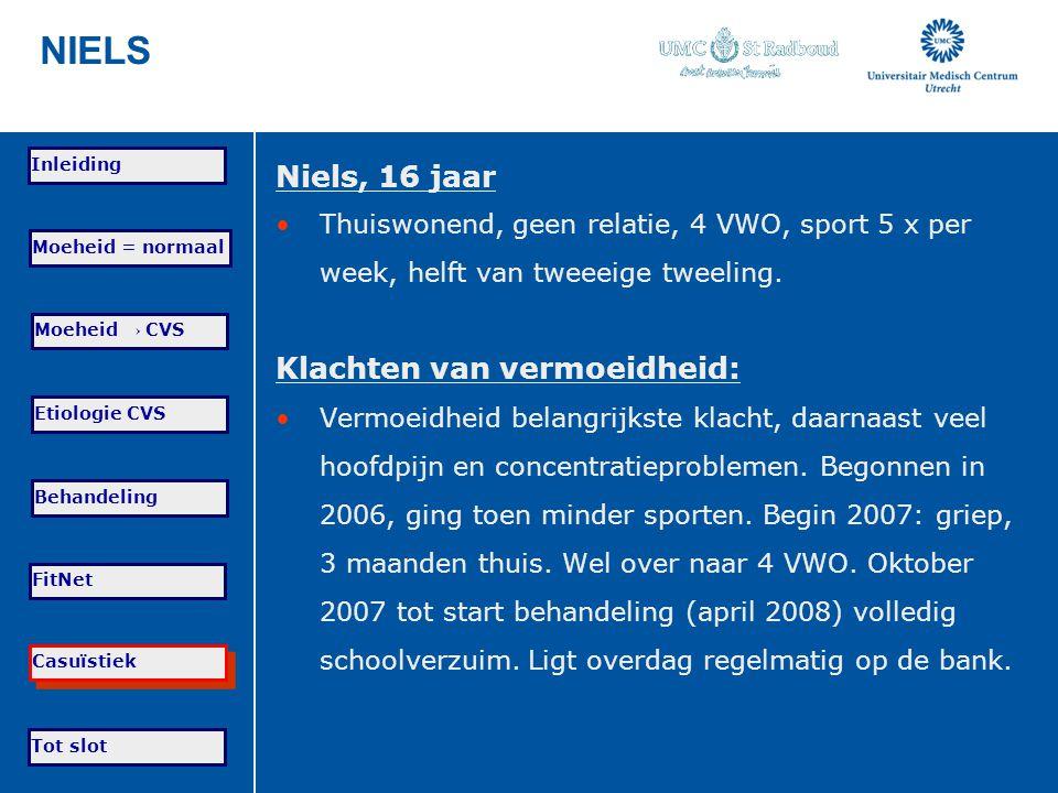NIELS Niels, 16 jaar Klachten van vermoeidheid: