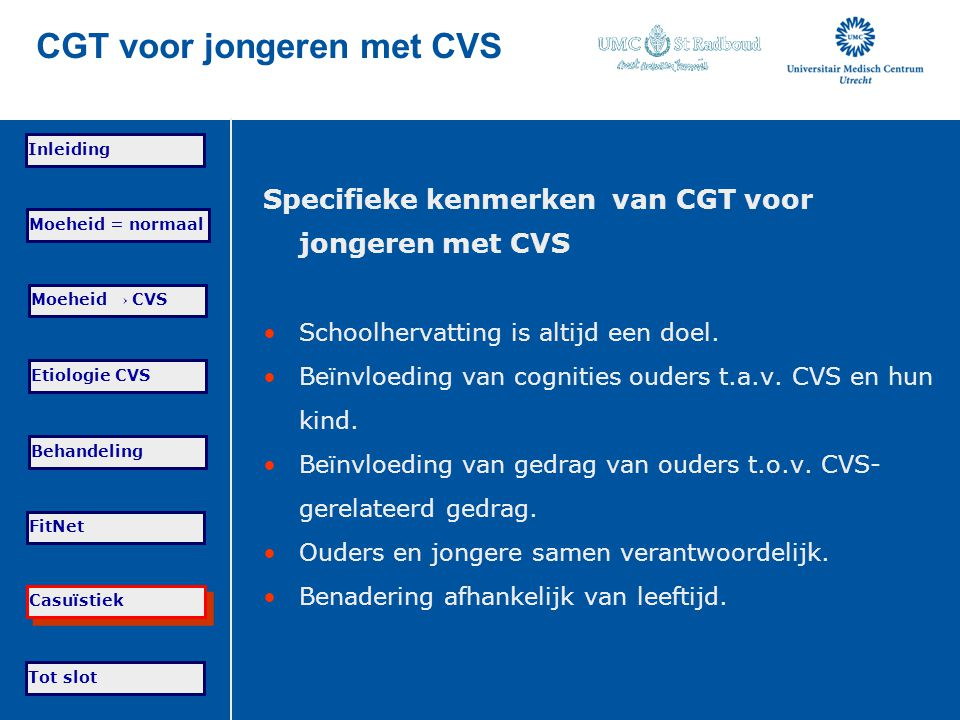 CGT voor jongeren met CVS