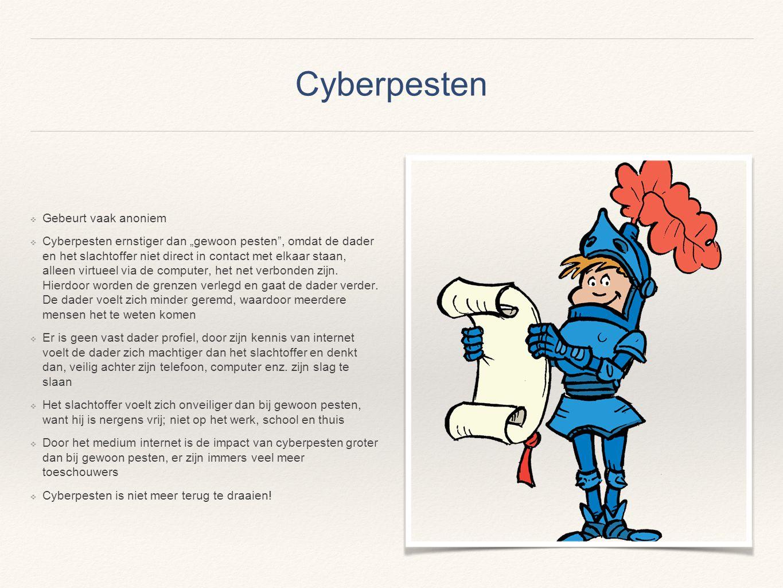 Cyberpesten Gebeurt vaak anoniem