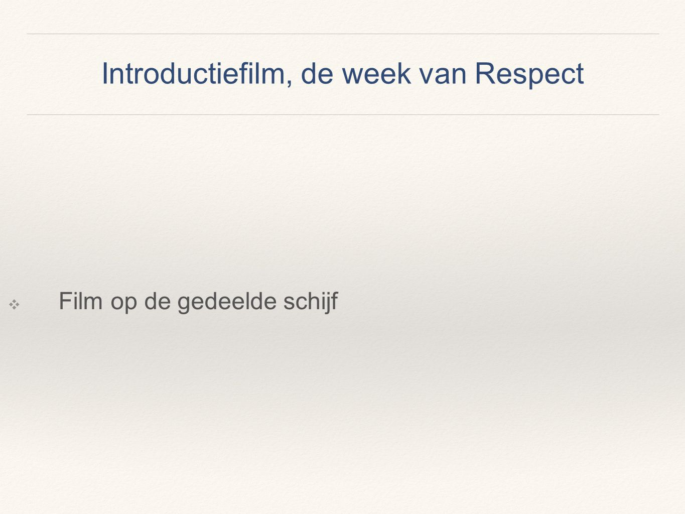 Introductiefilm, de week van Respect