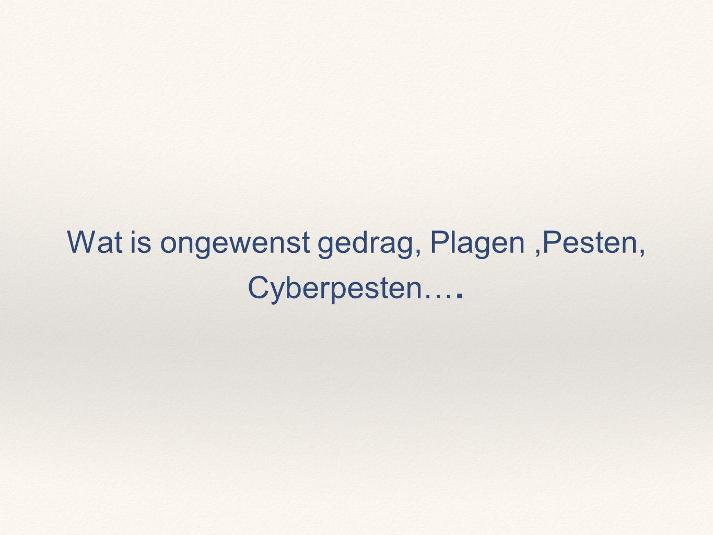 Wat is ongewenst gedrag, Plagen ,Pesten, Cyberpesten….