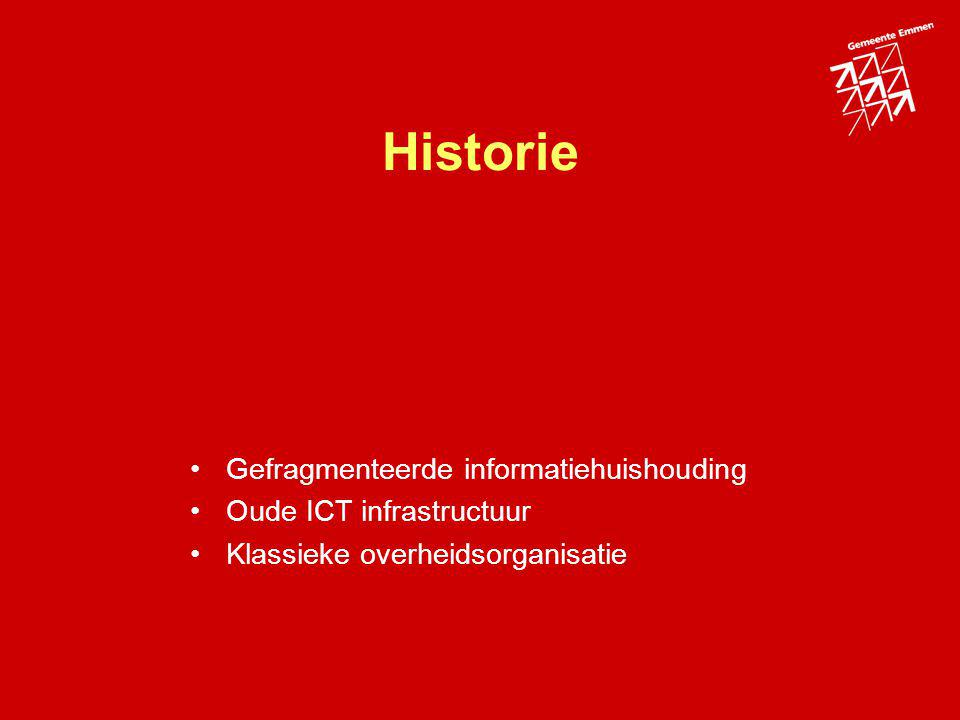 Historie Gefragmenteerde informatiehuishouding Oude ICT infrastructuur