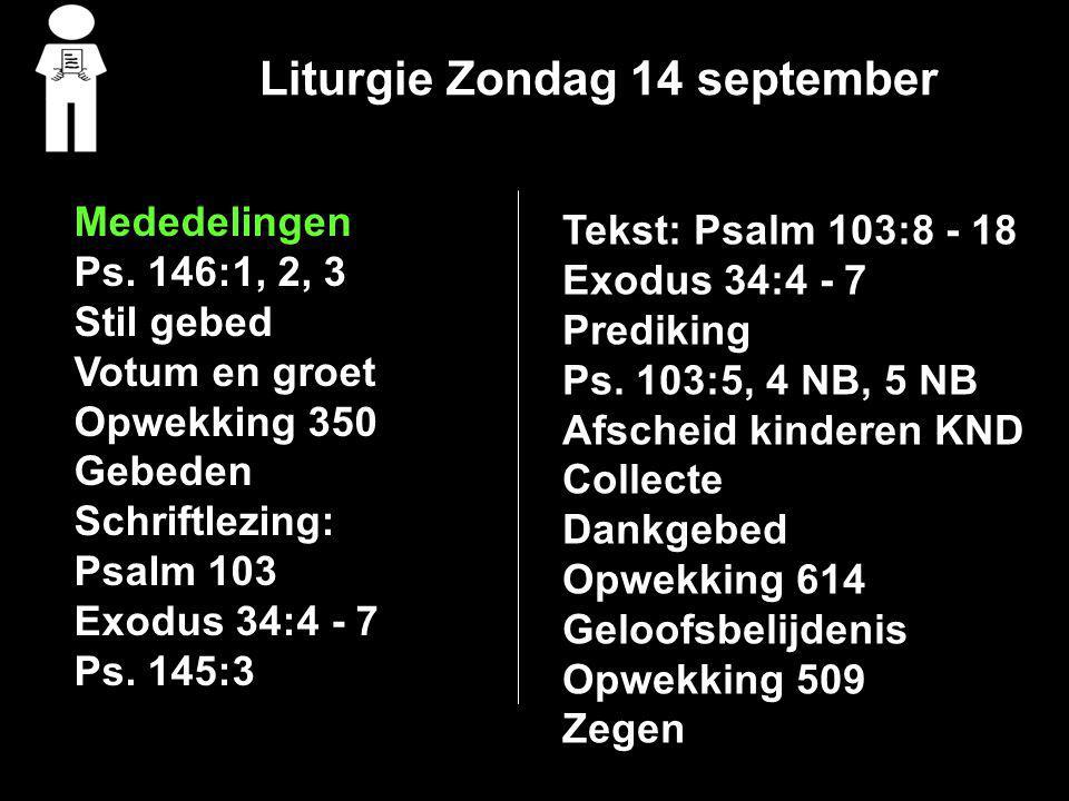 Liturgie Zondag 14 september
