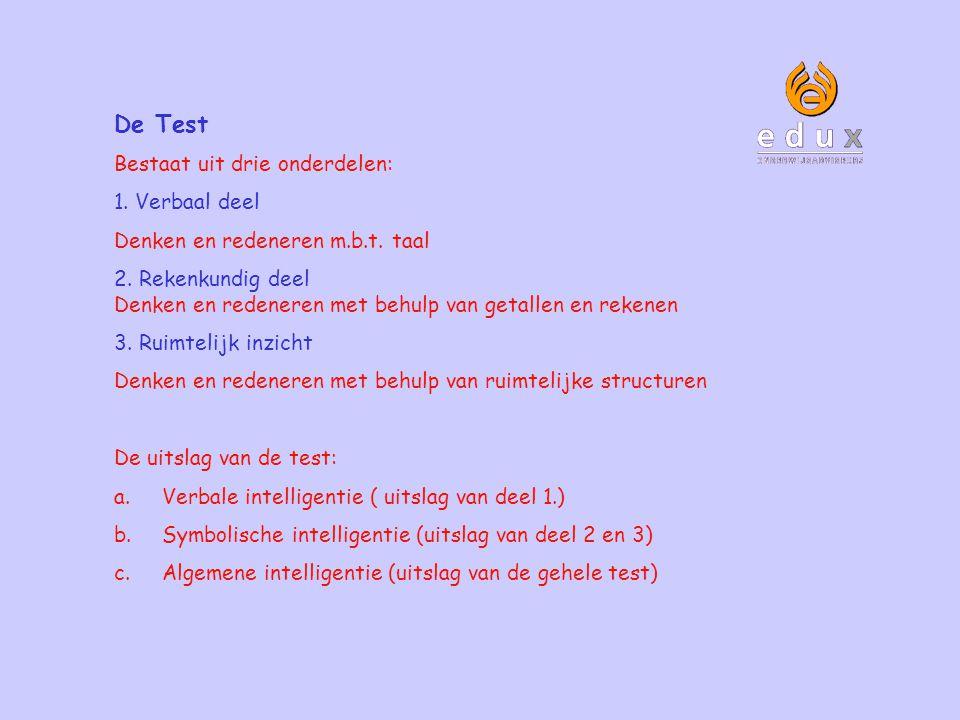 De Test Bestaat uit drie onderdelen: 1. Verbaal deel