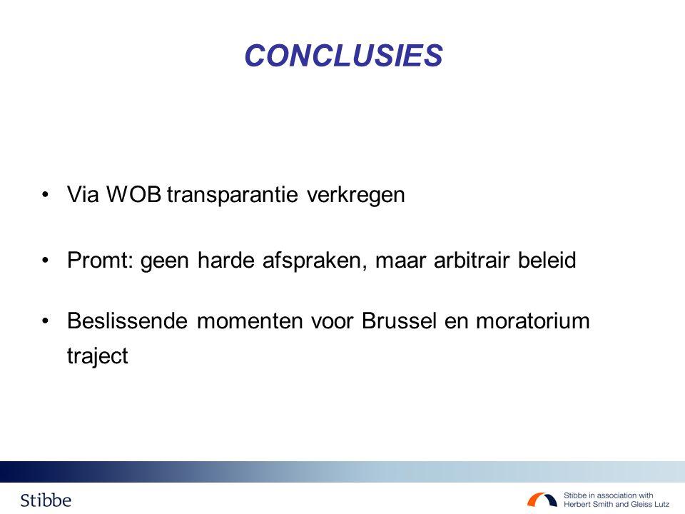 CONCLUSIES Via WOB transparantie verkregen