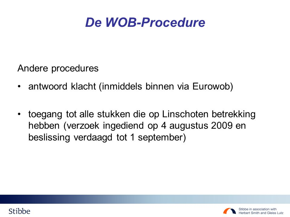 De WOB-Procedure Andere procedures