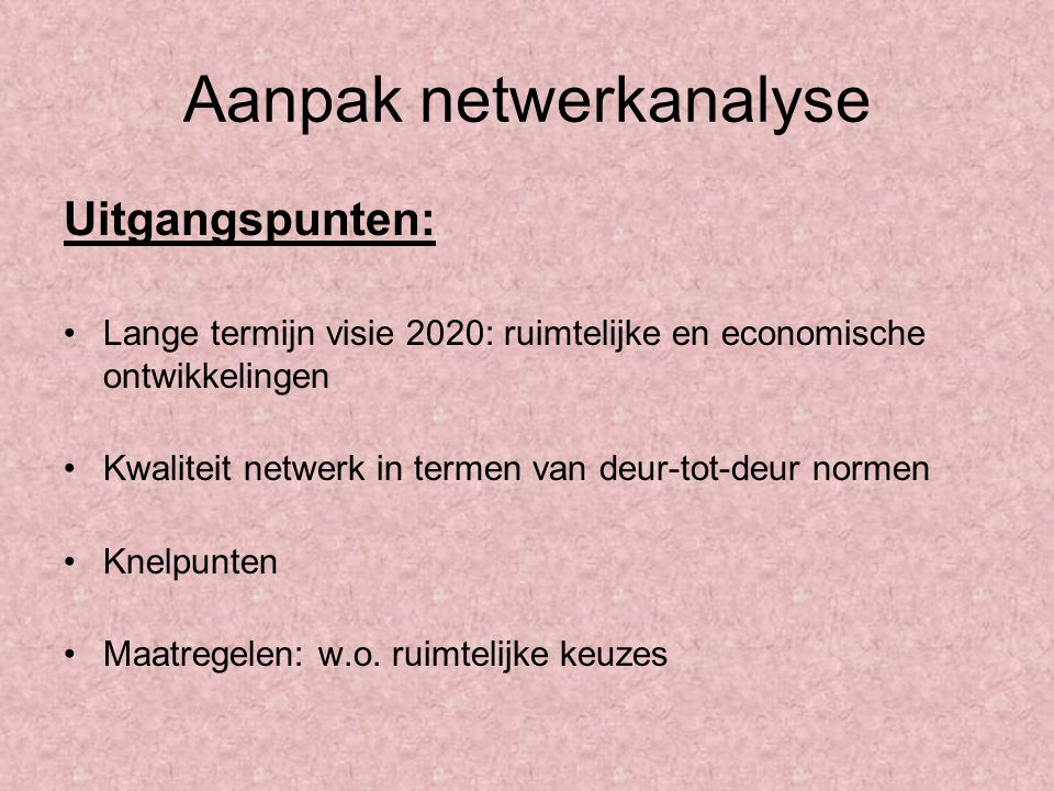 Aanpak netwerkanalyse