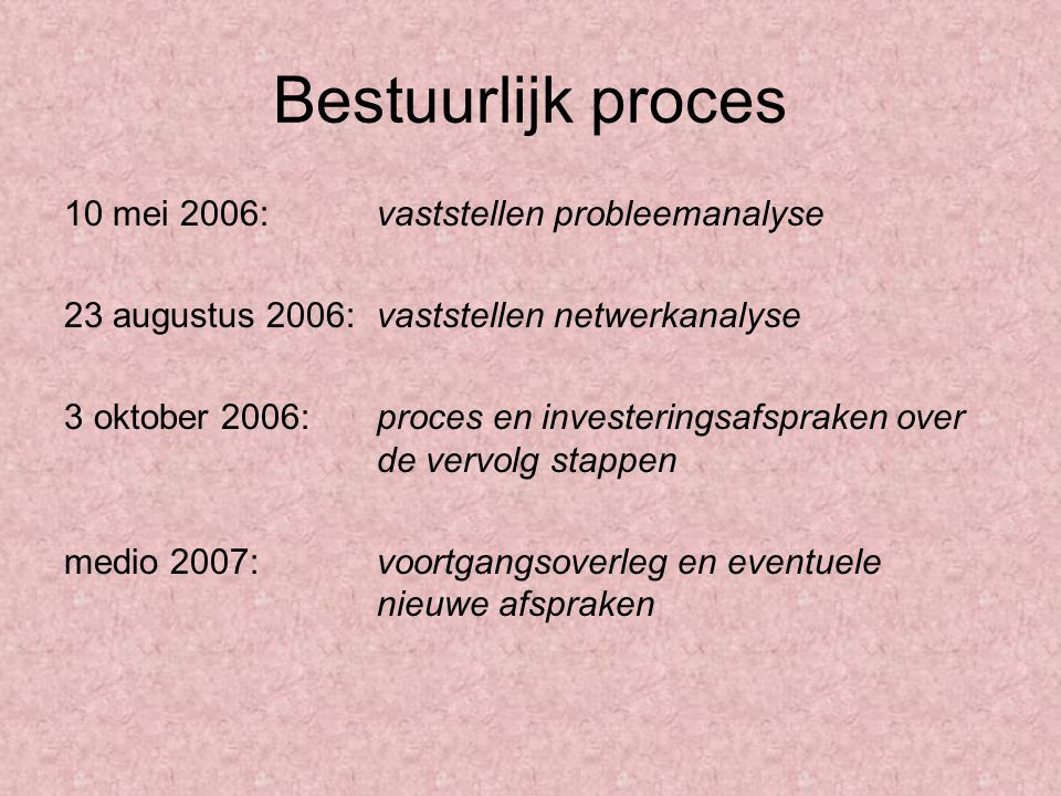Bestuurlijk proces 10 mei 2006: vaststellen probleemanalyse