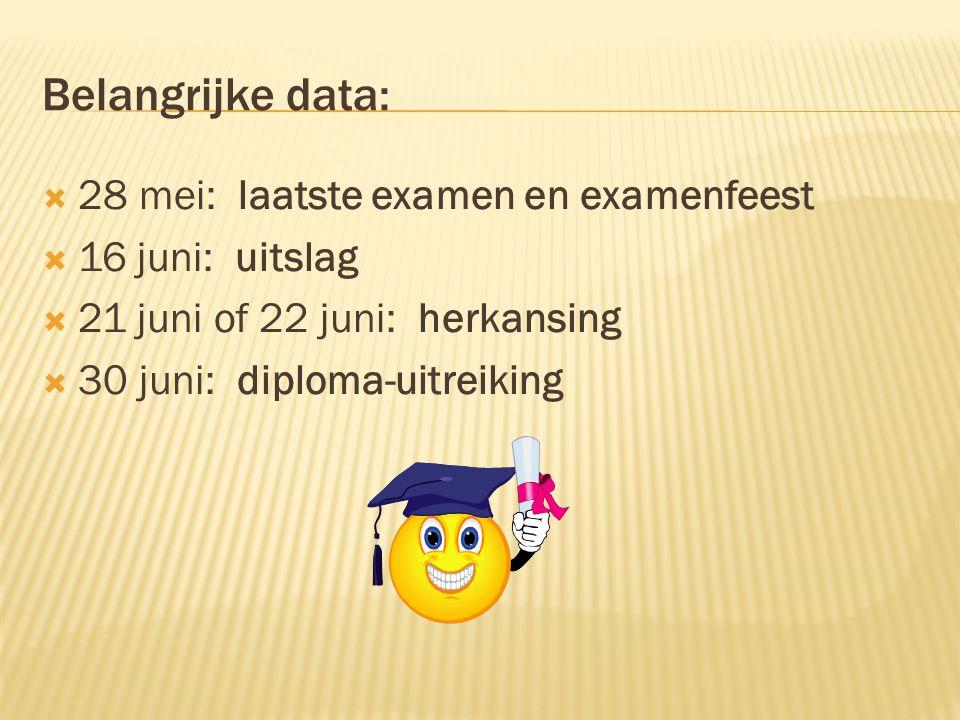 Belangrijke data: 28 mei: laatste examen en examenfeest