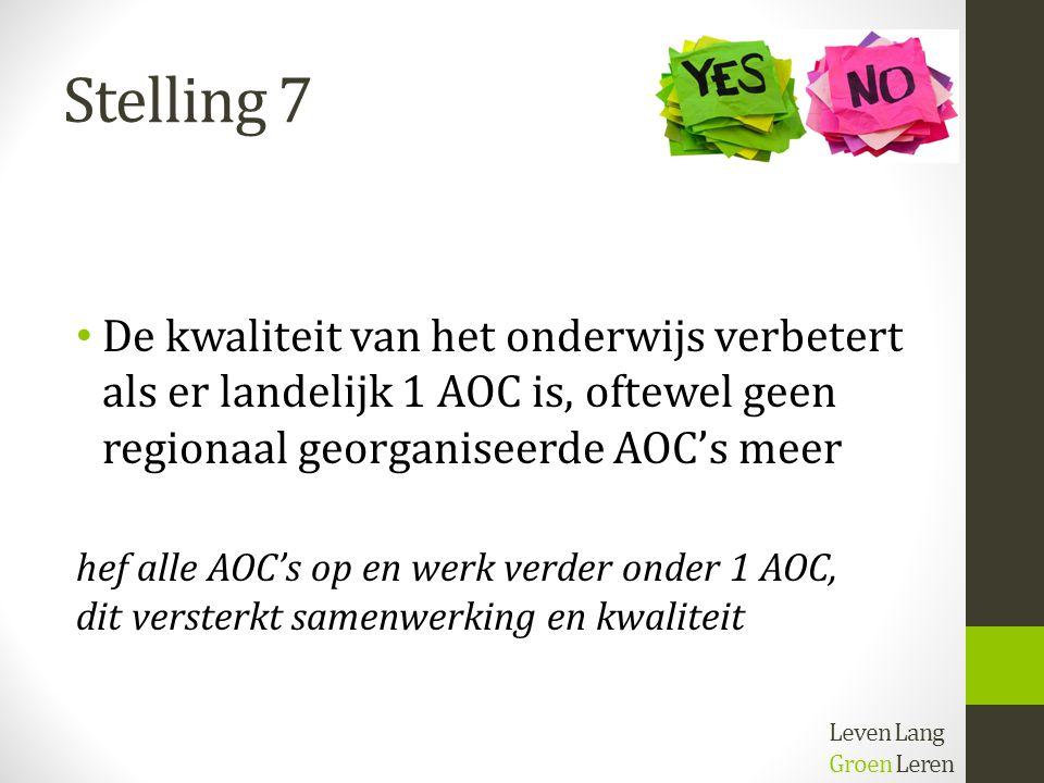 Stelling 7 De kwaliteit van het onderwijs verbetert als er landelijk 1 AOC is, oftewel geen regionaal georganiseerde AOC's meer.