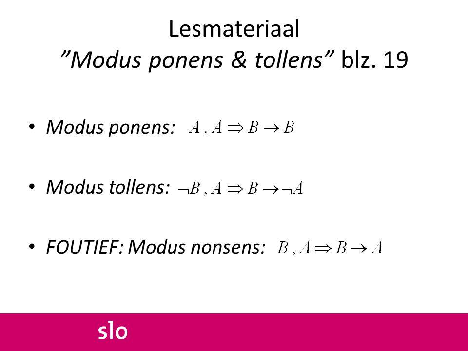 Lesmateriaal Modus ponens & tollens blz. 19