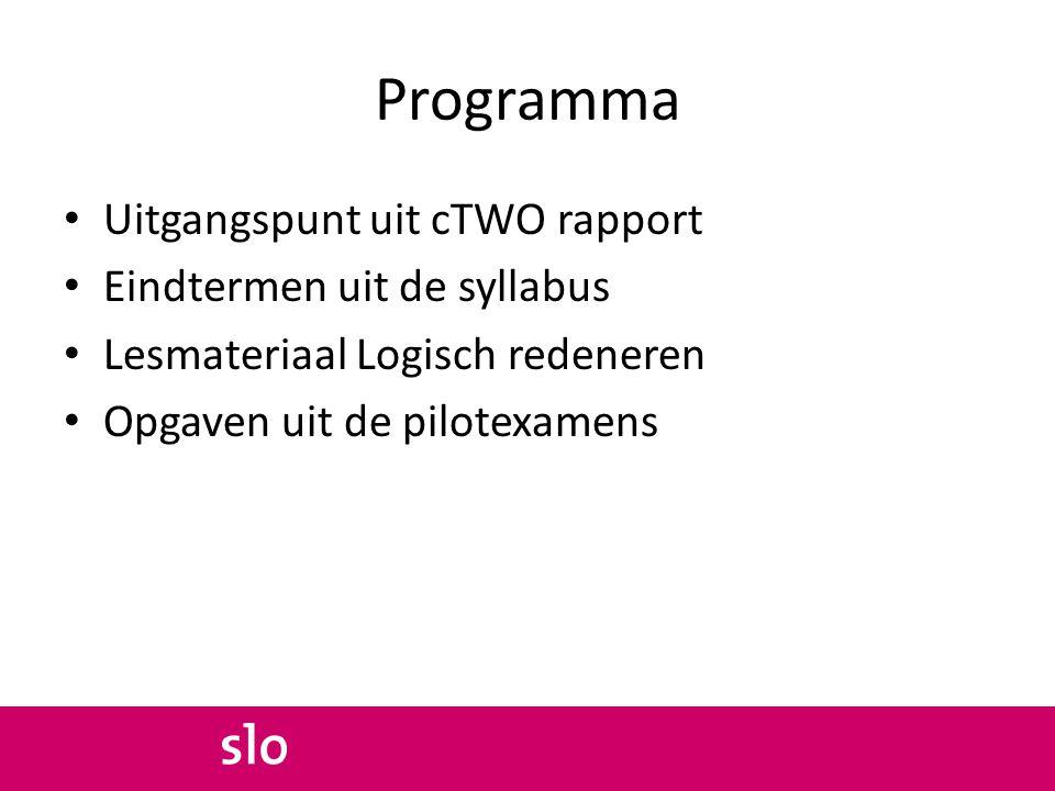 Programma Uitgangspunt uit cTWO rapport Eindtermen uit de syllabus