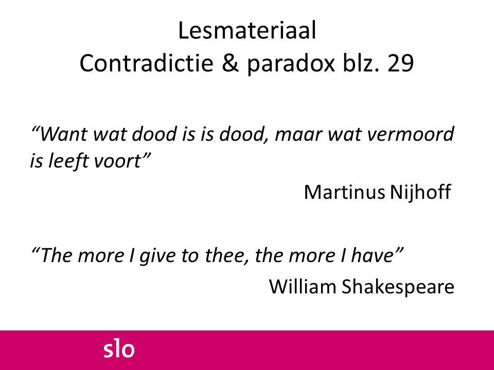 Lesmateriaal Contradictie & paradox blz. 29