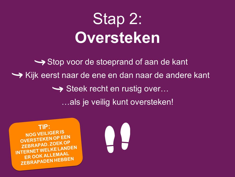 Stap 2: Oversteken Stop voor de stoeprand of aan de kant
