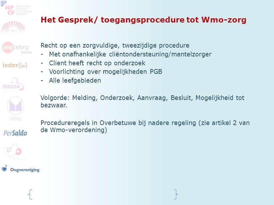 Het Gesprek/ toegangsprocedure tot Wmo-zorg