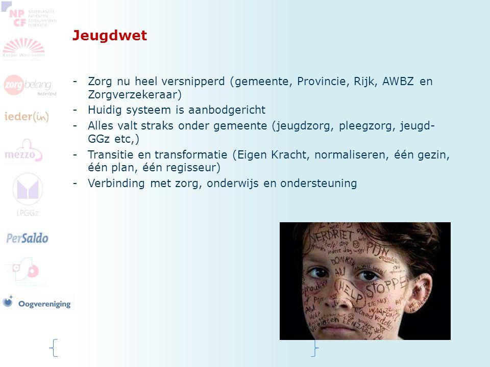 Jeugdwet Zorg nu heel versnipperd (gemeente, Provincie, Rijk, AWBZ en Zorgverzekeraar) Huidig systeem is aanbodgericht.