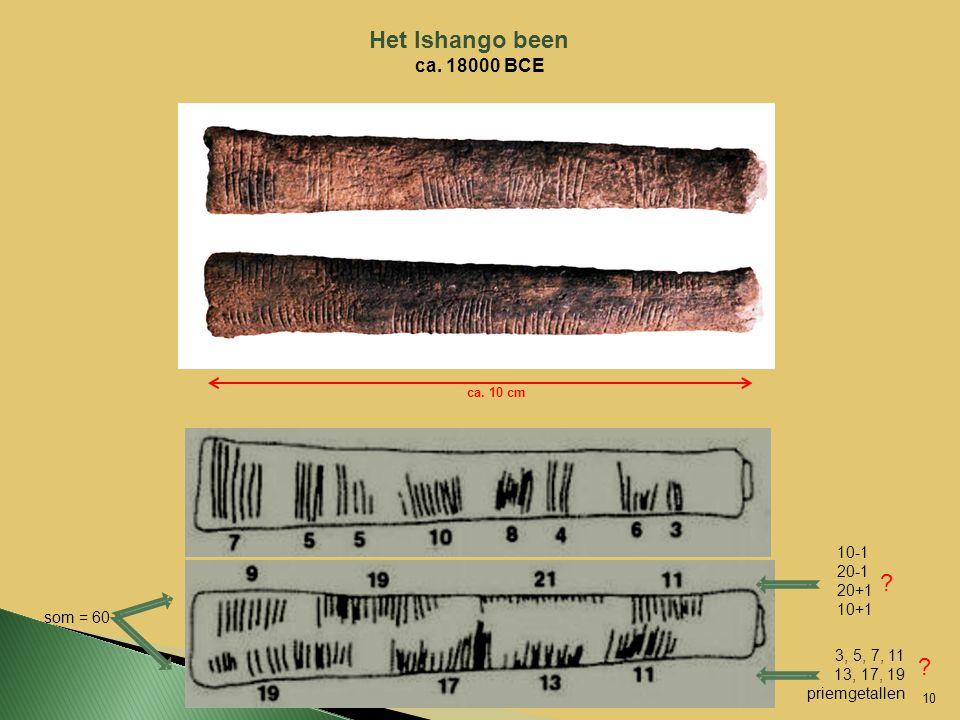 Het Ishango been ca. 18000 BCE 10-1 20-1 20+1 10+1 som = 60
