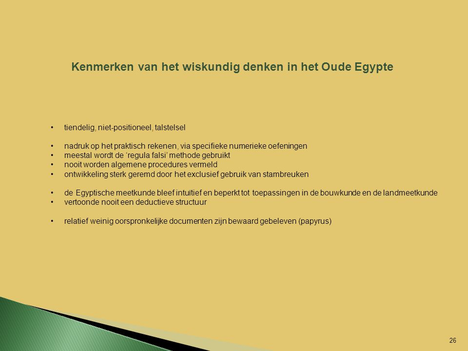 Kenmerken van het wiskundig denken in het Oude Egypte