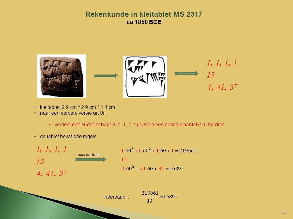 Rekenkunde in kleitablet MS 2317 ca 1850 BCE