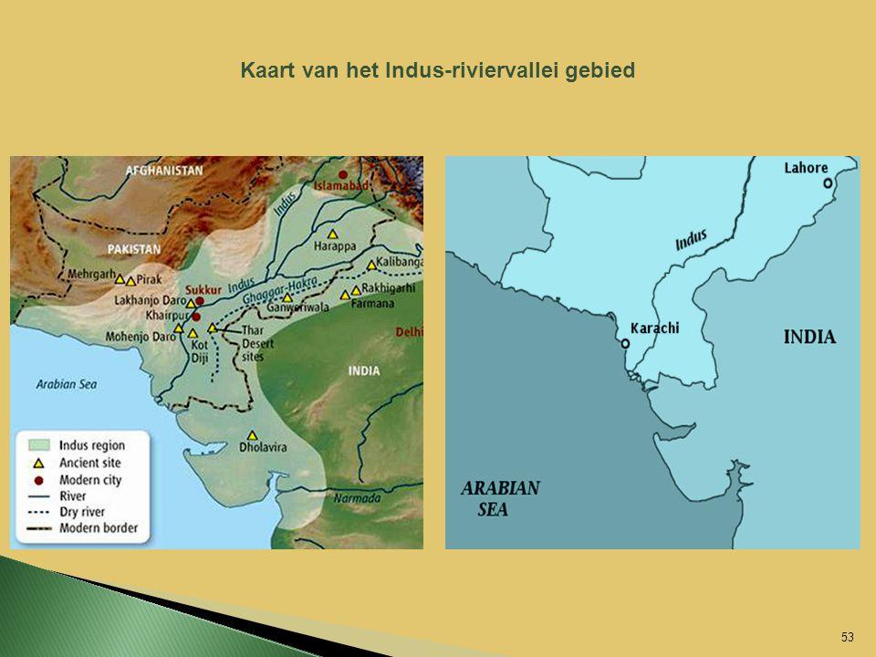 Kaart van het Indus-riviervallei gebied