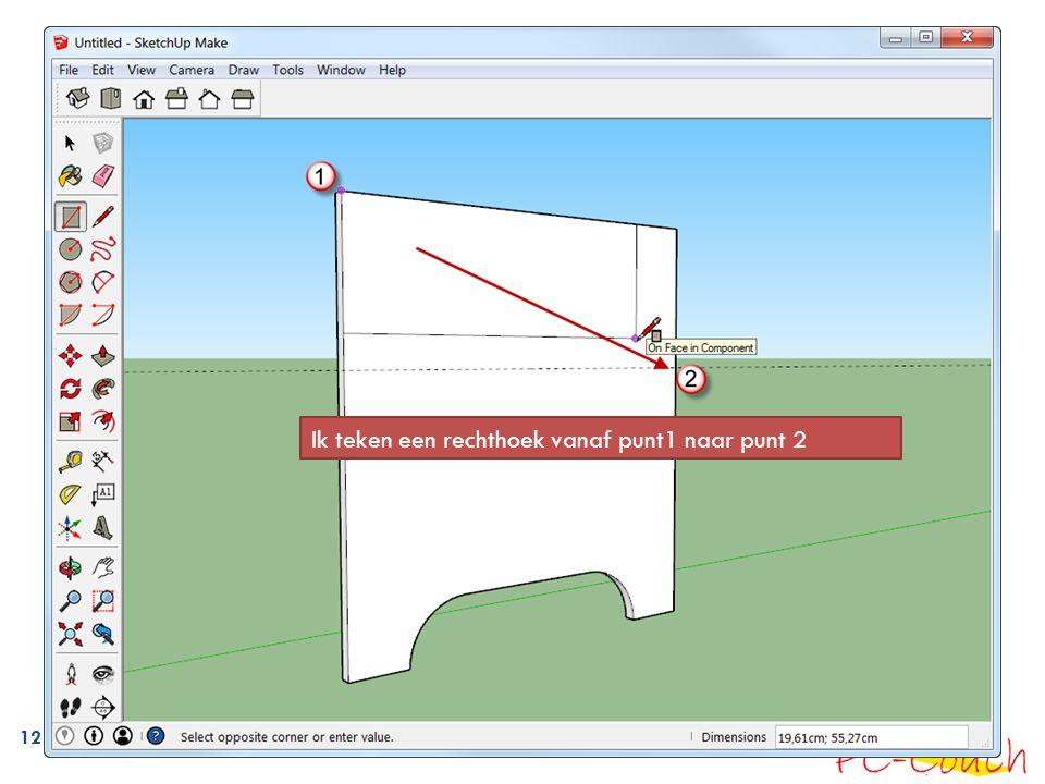Ik teken een rechthoek vanaf punt1 naar punt 2