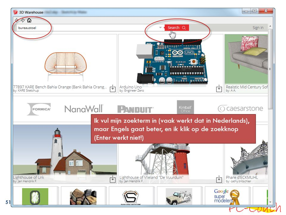 Ik vul mijn zoekterm in (vaak werkt dat in Nederlands), maar Engels gaat beter, en ik klik op de zoekknop (Enter werkt niet!)