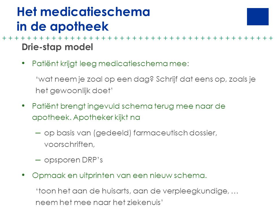 Het medicatieschema in de apotheek Drie-stap model
