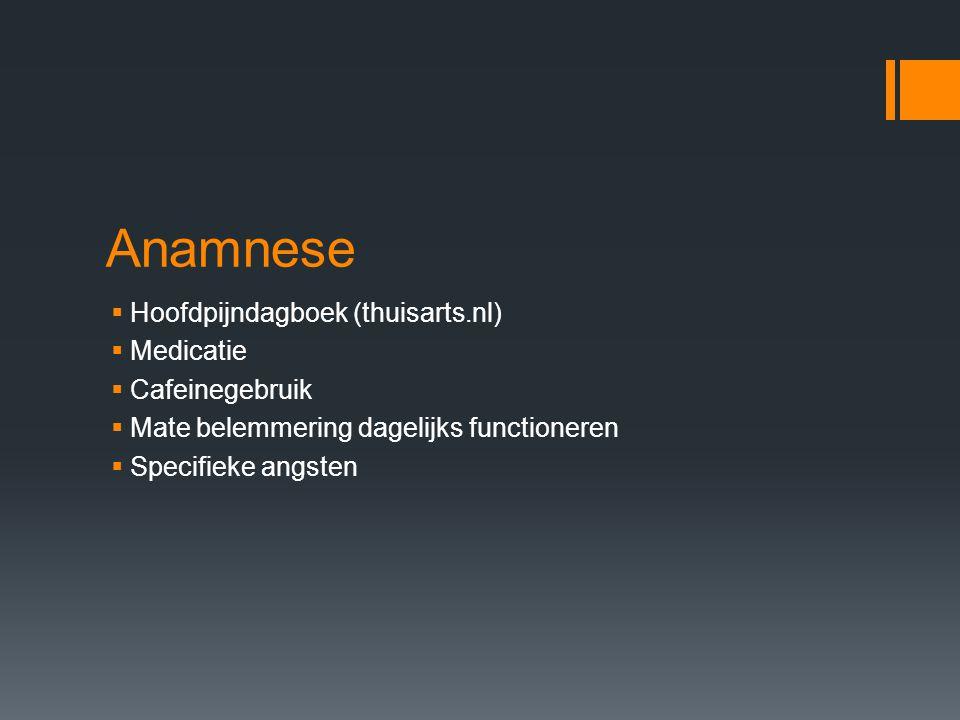 Anamnese Hoofdpijndagboek (thuisarts.nl) Medicatie Cafeinegebruik