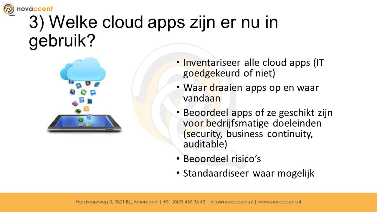 3) Welke cloud apps zijn er nu in gebruik