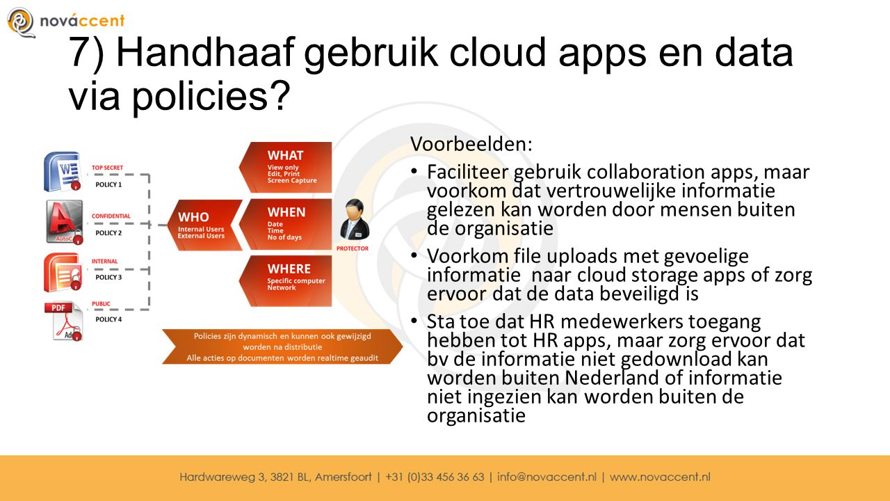 7) Handhaaf gebruik cloud apps en data via policies