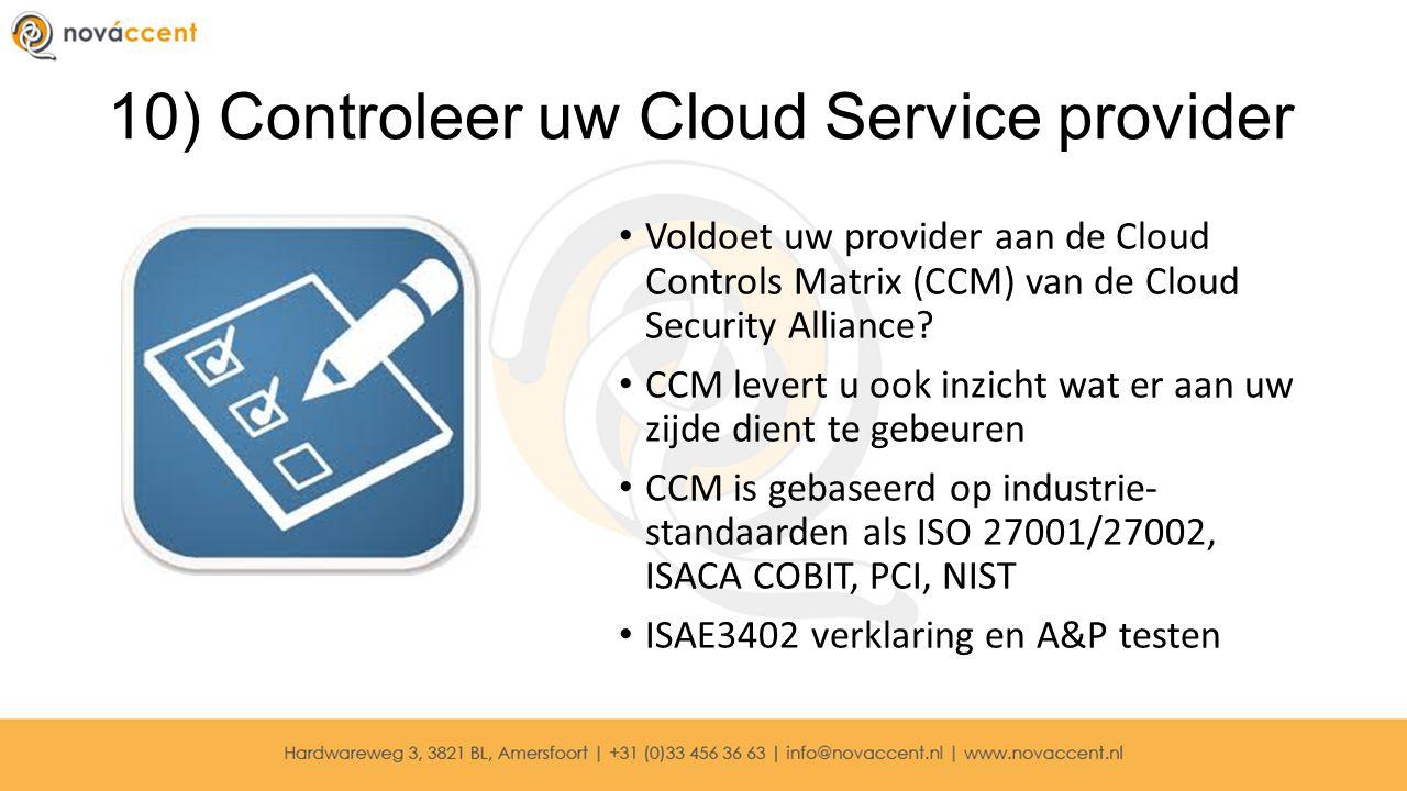 10) Controleer uw Cloud Service provider