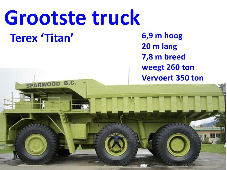 Grootste truck Terex 'Titan' 6,9 m hoog 20 m lang 7,8 m breed