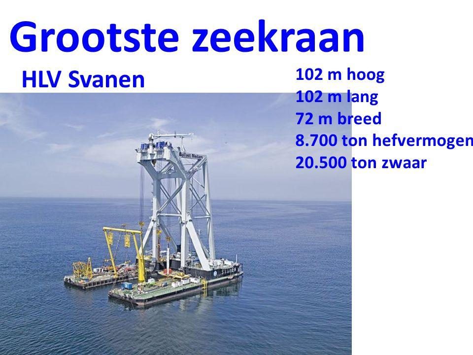 Grootste zeekraan HLV Svanen 102 m hoog 102 m lang 72 m breed
