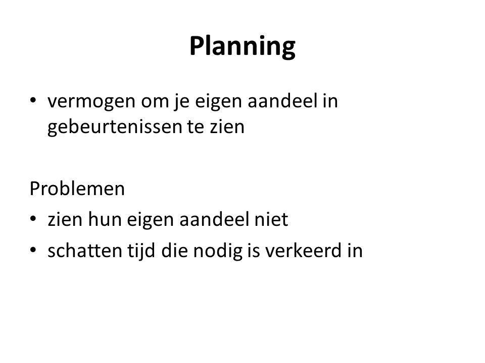 Planning vermogen om je eigen aandeel in gebeurtenissen te zien