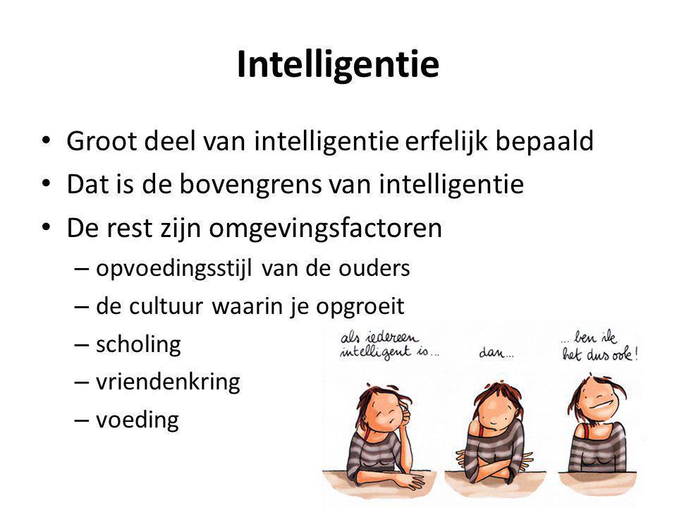 Intelligentie Groot deel van intelligentie erfelijk bepaald