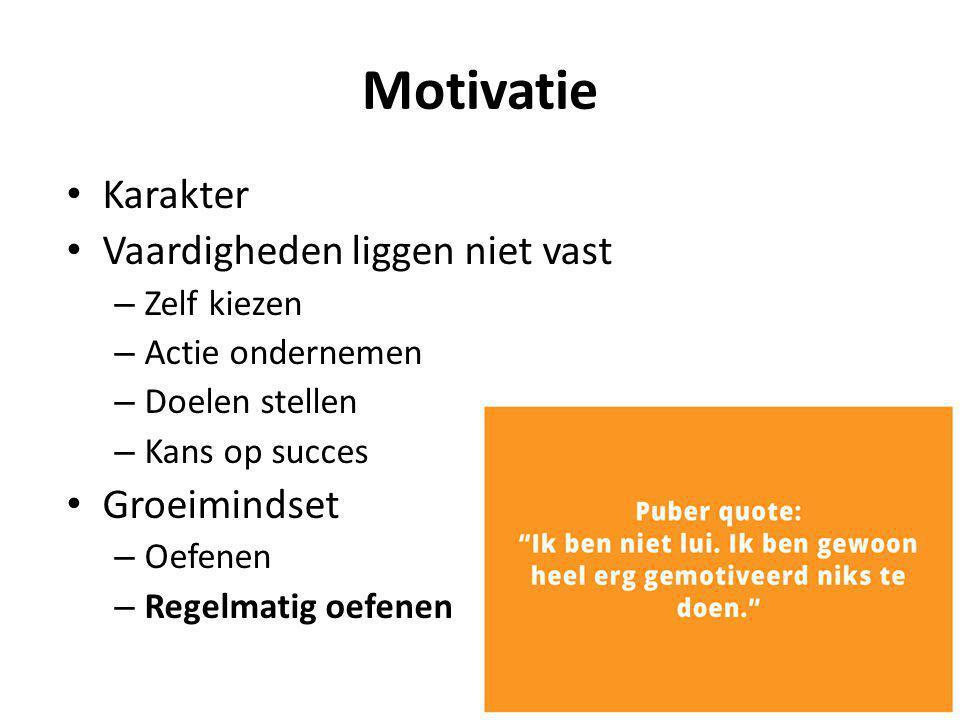 Motivatie Karakter Vaardigheden liggen niet vast Groeimindset