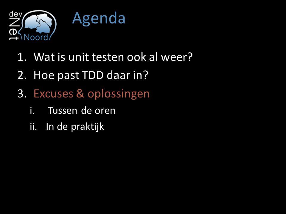 Agenda Wat is unit testen ook al weer Hoe past TDD daar in