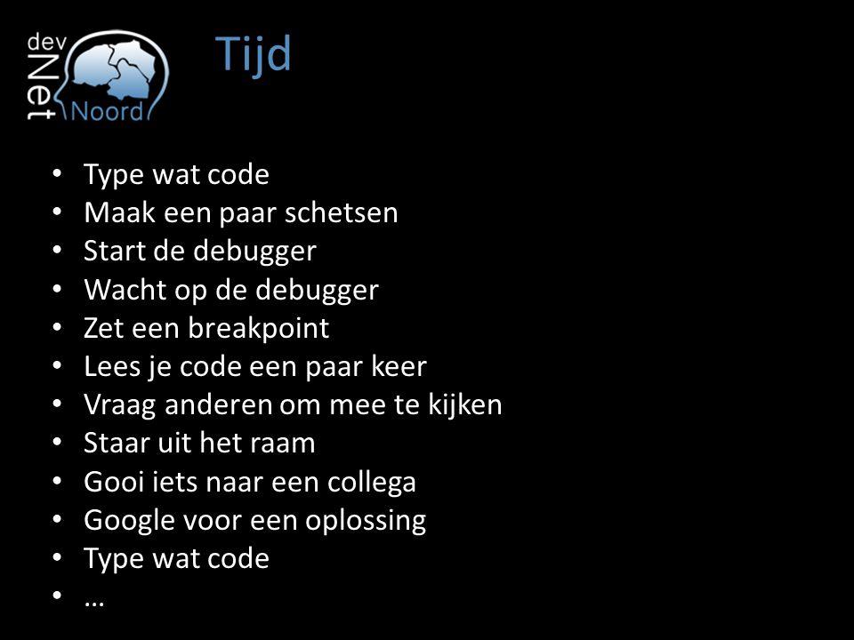 Tijd Type wat code Maak een paar schetsen Start de debugger