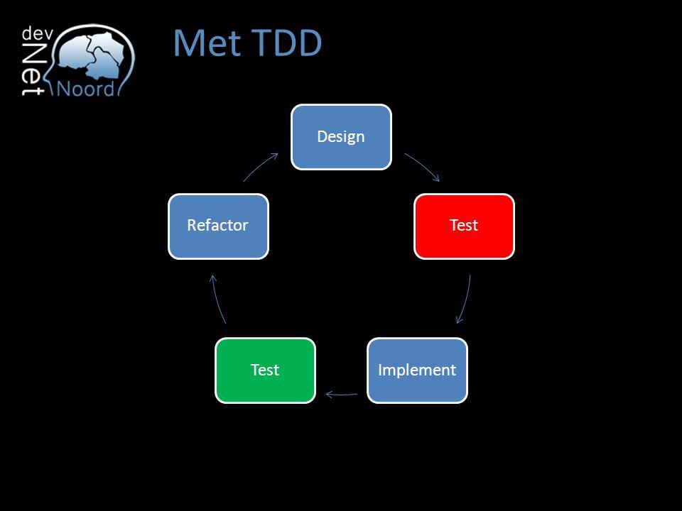 Met TDD Design Test Implement Refactor TDD is een design activity