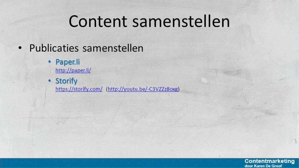 Content samenstellen Publicaties samenstellen