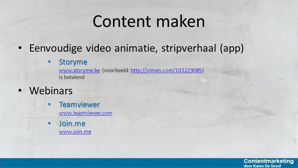 Content maken Eenvoudige video animatie, stripverhaal (app) Webinars