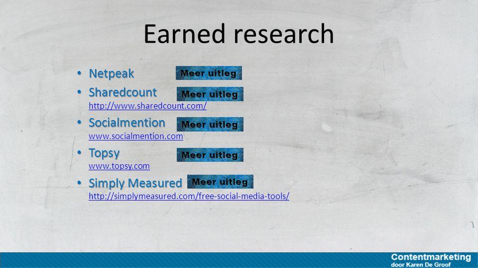 Earned research Netpeak Sharedcount http://www.sharedcount.com/