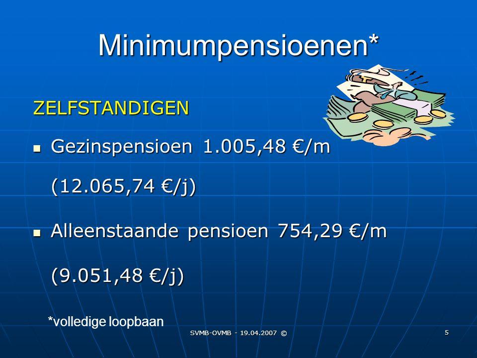 Minimumpensioenen* ZELFSTANDIGEN