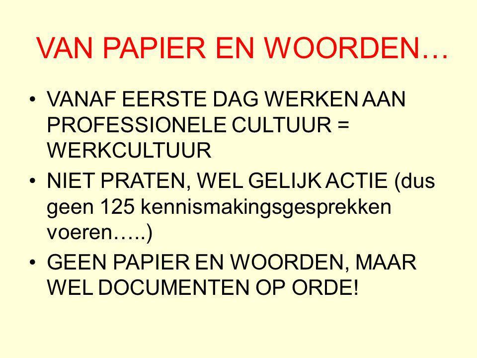 VAN PAPIER EN WOORDEN… VANAF EERSTE DAG WERKEN AAN PROFESSIONELE CULTUUR = WERKCULTUUR.