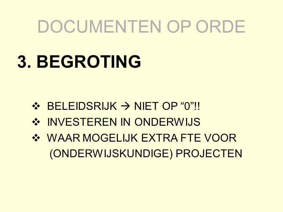 DOCUMENTEN OP ORDE 3. BEGROTING BELEIDSRIJK  NIET OP 0 !!