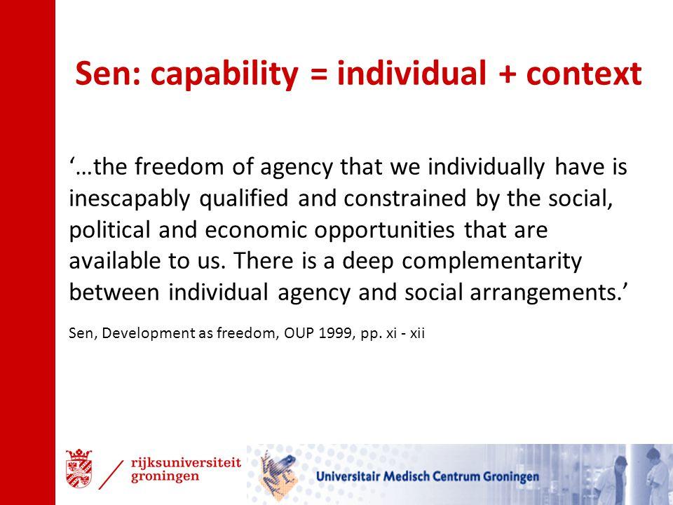 Sen: capability = individual + context