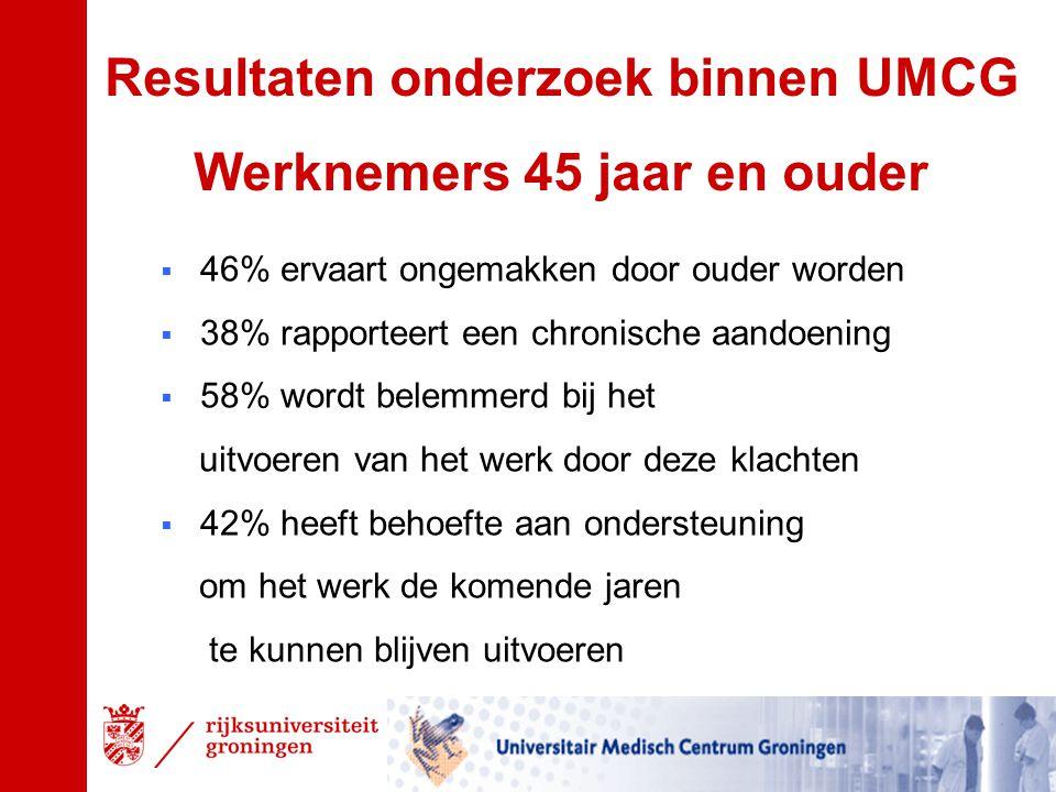Resultaten onderzoek binnen UMCG Werknemers 45 jaar en ouder