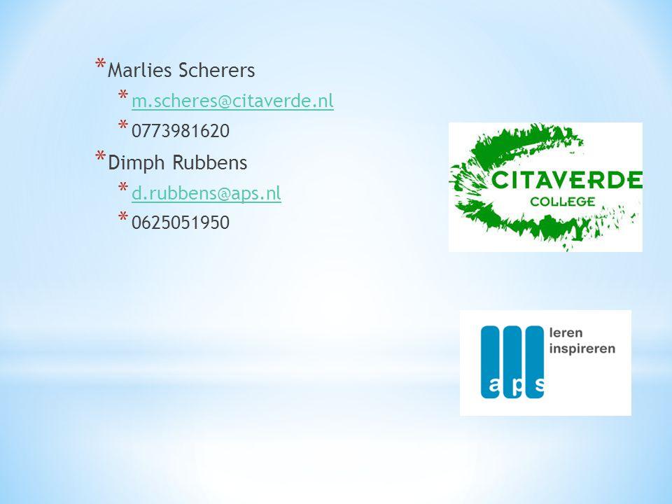 Marlies Scherers Dimph Rubbens m.scheres@citaverde.nl 0773981620