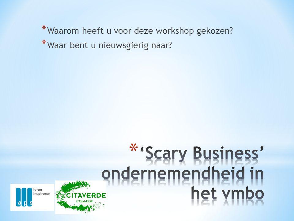 'Scary Business' ondernemendheid in het vmbo