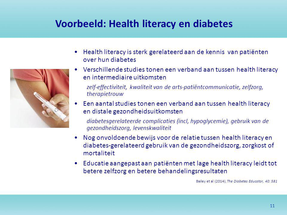 Voorbeeld: Health literacy en diabetes